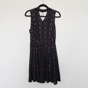 Notations, Black Eyelet Dress with Keyhole Collar